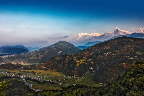 Local villages & Mountains from Tiger Mountain Pokhara Lodge