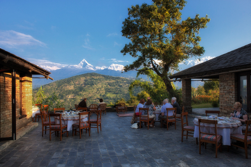 Tiger Mountain Pokhara Lodge, Nepal - Breakfast on Terrace