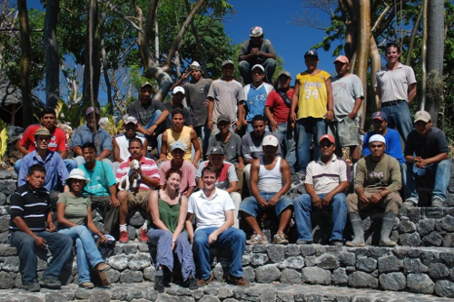 Jicaro Island Ecolodge, Nicaragua - owner Karen with building crew and dog!