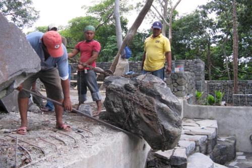 Jicaro Island Ecolodge, Nicaragua - owner Karen with building crew and dog!