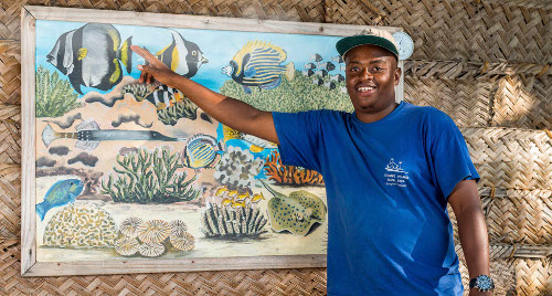guest education  on marine conservation at chumbe island coral park