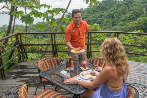 Breakfast on the balcony overlooking the rainforest & Osa Peninsula bay