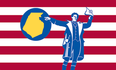 "Frederick County Flag. jebediah Frederick shouting to his neighbor   ""Sir! i believe you did drop your titty-bar flyer!   I say sir!"""