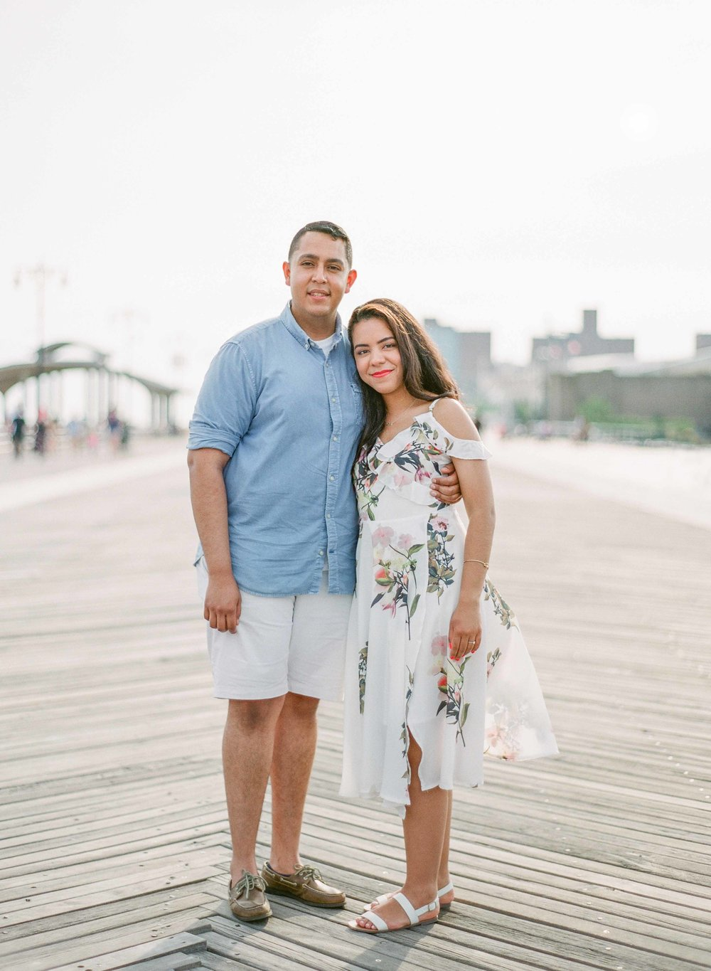Coney Island boardwalk engagement photo