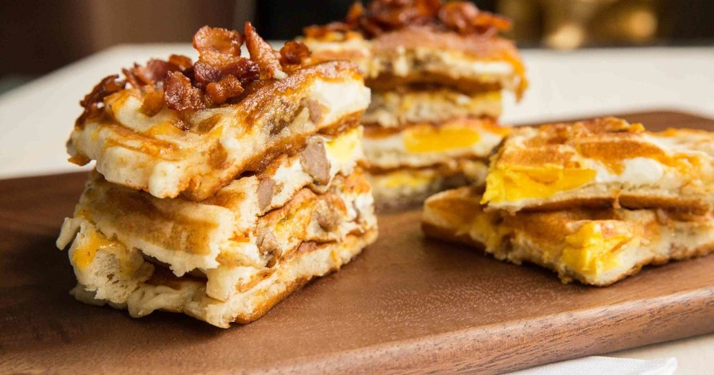 Bacon Waffle Breakfast Sandwiches