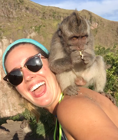 Sam making new friends while hiking a volcano in Bali...