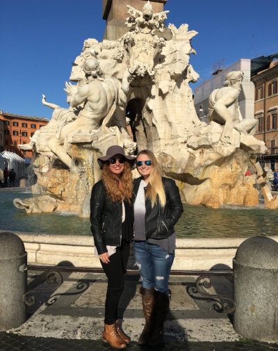 Sam and her sister Sarah in Rome.