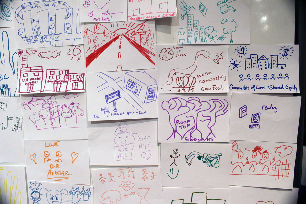 "audience contributions to ""Draw a better nyc' popup gallery"