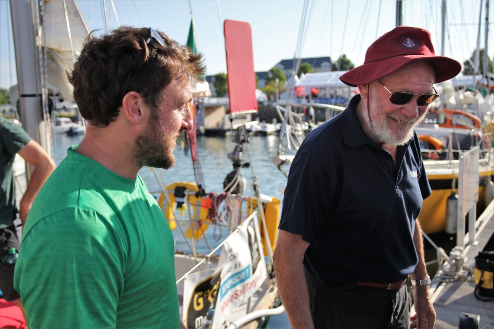 Gregor McGuckin and Sir Robin Knox-Johnston ahead of the start of the Golden Globe Race