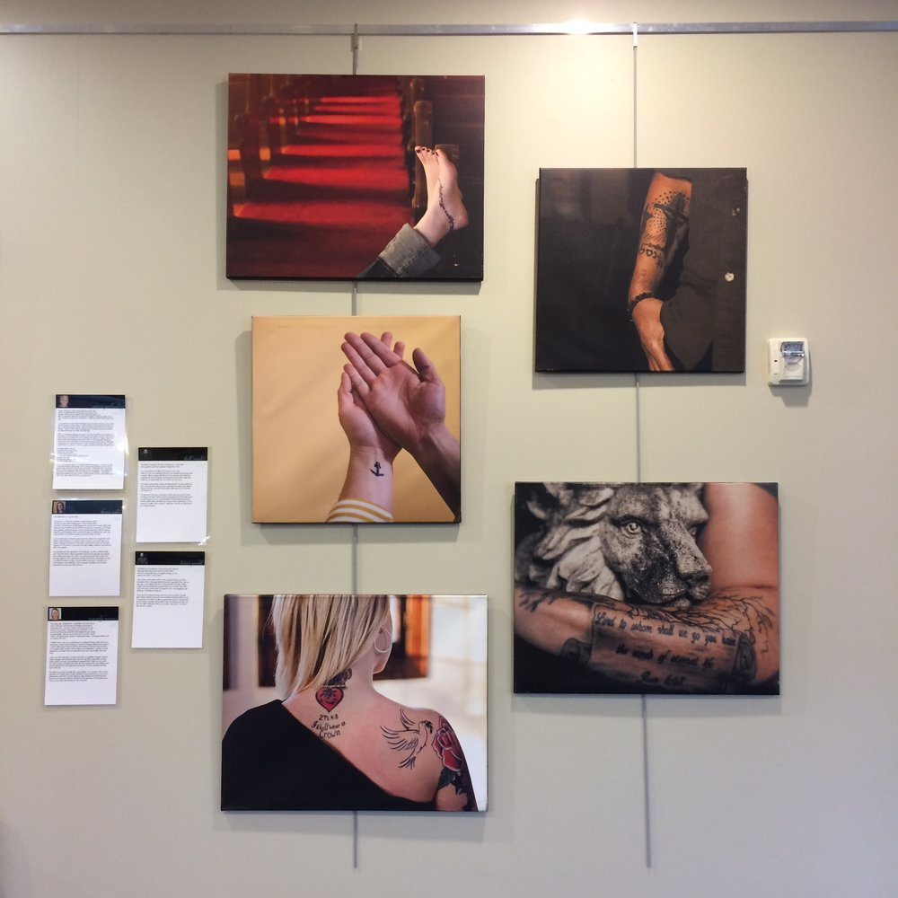 Faith Marks, a traveling exhibit of spirituality and tattoos was our very first exhibit in 2015.