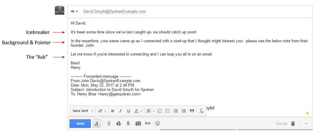 This Note Contains A Few Important Parts A The Small Talk B The Background C The Pointer To The Email Below And D The Ask