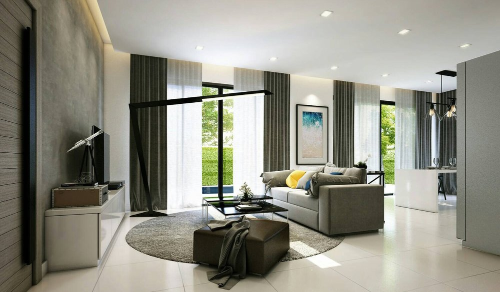 A contemporary living room opens up to views of the pool and garden, offering comfort for mind, body and soul.