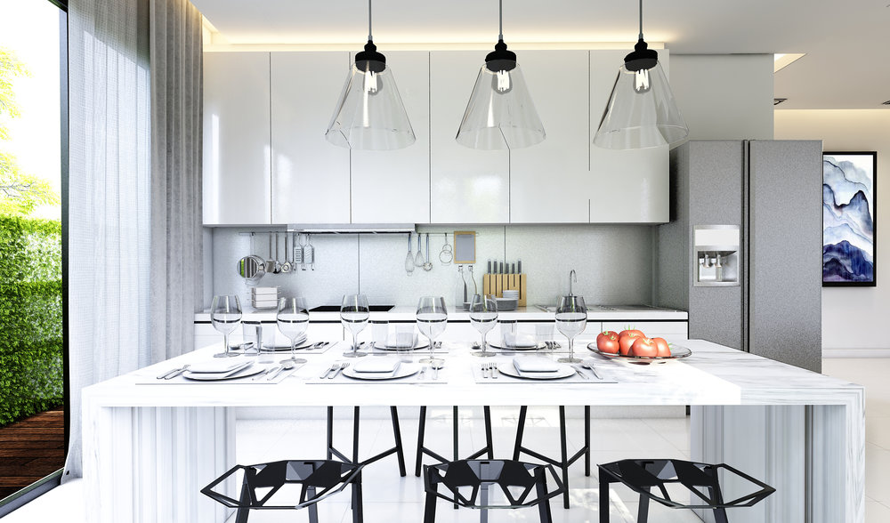 Fire up your culinary passion with a modern kitchen that is practical yet pleasing to the eyes. Be inspired to play the perfect dinner host in paradise.