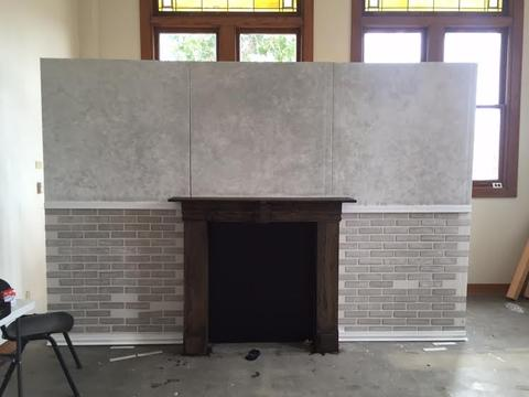 The fireplace, before all the bricks were installed.