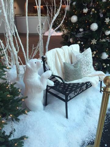 "This snowy scene in the Lobby was a favorite spot of children- probably because of Peppermint's adorable baby, ""Patty""."