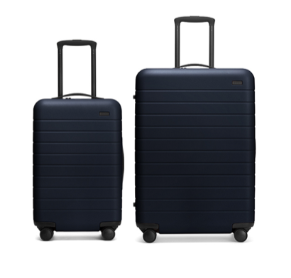 Away Travel Suitcase – Set of Two    Price: $450   Our WanderLuxxe members are always on the go. For the person who seems to spend more time in an airport than at home, give the gift of luxury suitcases. They are strong, smooth, have TSA approved locks and each has an ejectable battery charger so you can always check your phone while on the move.
