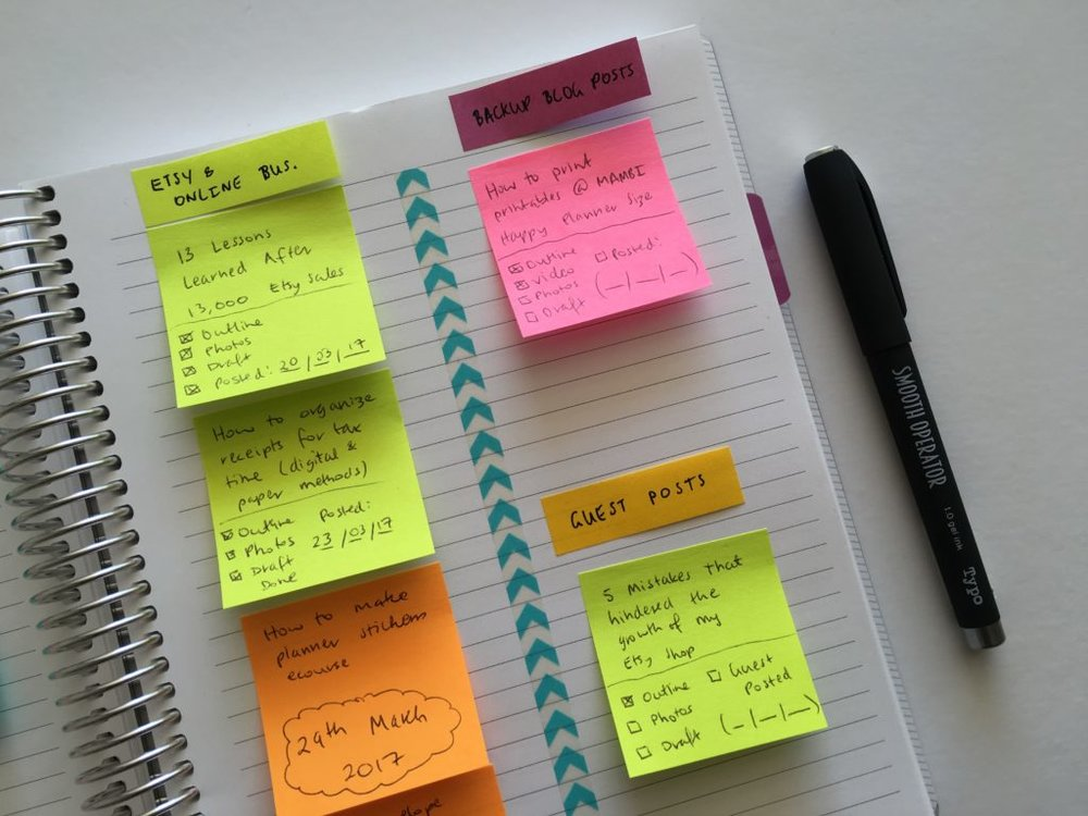how-to-keep-track-of-blog-post-ideas-using-sticky-notes-idea-bank-quick-simple-editorial-calendar-blogging-schedule-routine-inspiration-diy-using-an-empty-notebook-1024x768.jpg