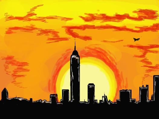 New York City sunset drawn using a tablet, Jasmine Temple