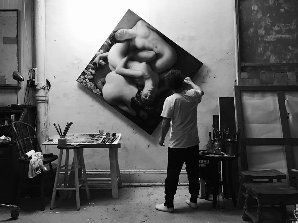 Christopher Pugliese painting in the studio, New York City, 2015