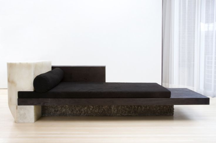 Rick Owens. Alabaster, bronze, dark wood daybed.jpg