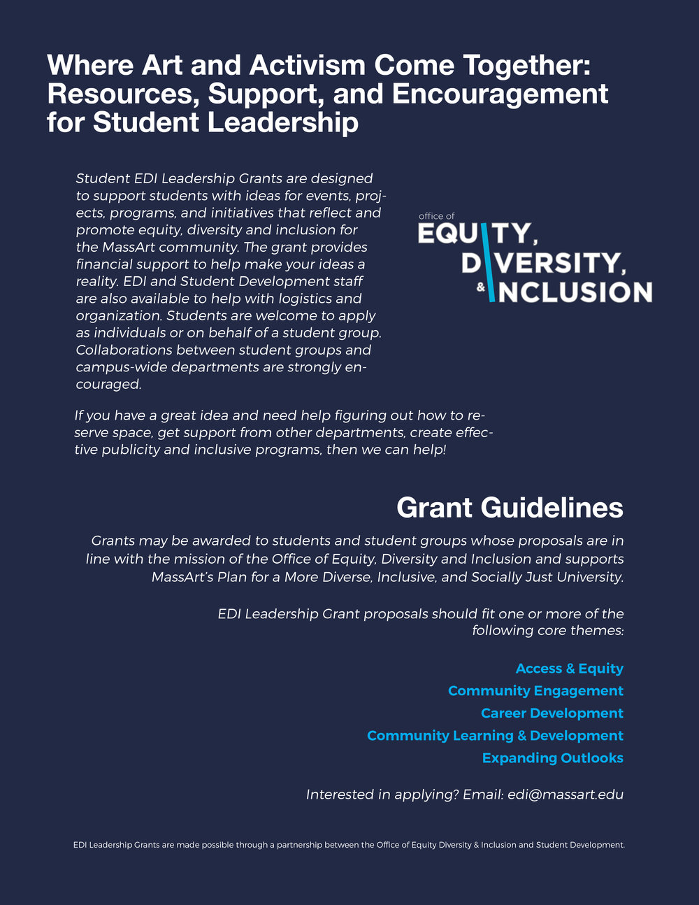 Office of Equity, Diversity, & Inclusion Grant Poster for MassArt