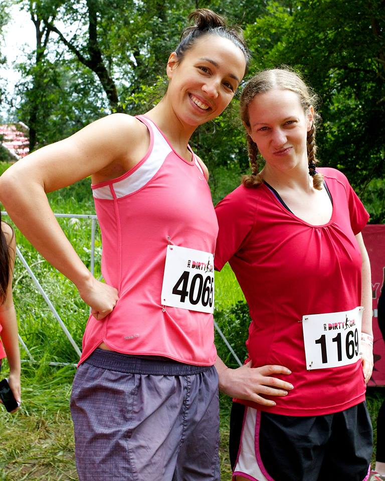 "Me with another one of my awesome fitness friends, Laurel, at the ""Dirty Girl"" obstacle course on June 2nd."