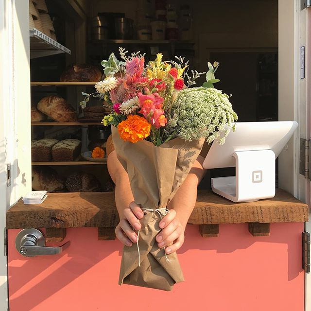 See you tomorrow morning 8am-11am coffee , pastries, loaves and fresh blooms with @pansyandpetal.