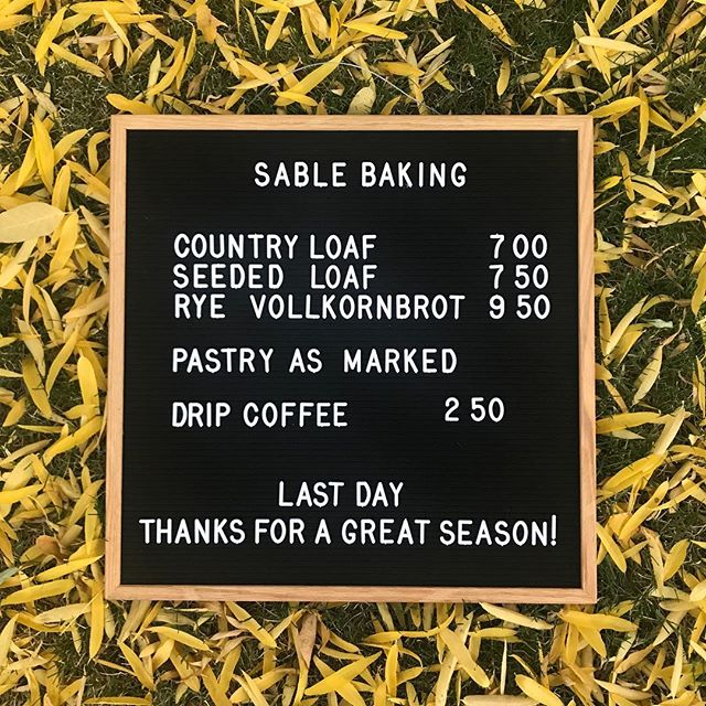 See you tomorrow morning 8am-11am for our last day at the bakery walk up window! We'll have all your favorites including cardamom buns, bostock, brioche lardon, coffee cake, cookies, pumpkin brioche tarts, sticky buns, and loaves of seeded, country and vollkornbrot. Plus lots of hot coffee!