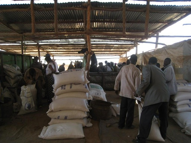 Bags of corn and beans at the Kiziba Refugee Camp