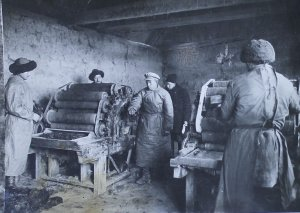 The equipment and means of production at the enterprises were primitive. The most common enterprises were mills that had very simple mechanism log units with a water wheel and primitive millstones. They were small huts built near mountain rivers.