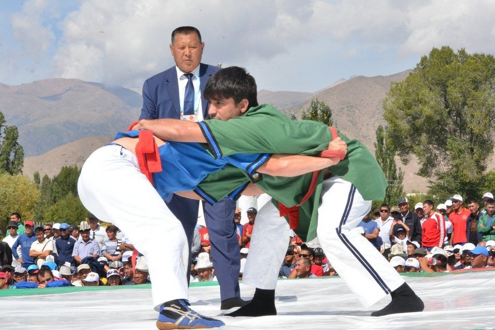 - Belt wrestling is one of the oldest sports. Alysh is its Kyrgyz type. Athletes wrestle holding each other by the belt all the time. The wrestling takes place only in a standing position. The winner has to throw his opponent down on his back without releasing his belt.