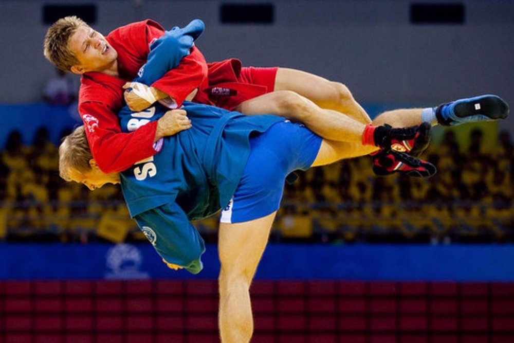 - Sambo (short for 'self-defense without weapons'), a Soviet type of combat sports invented in the 1930s for national security services and police. In Sambo one wins with an effective throw or a submission hold.