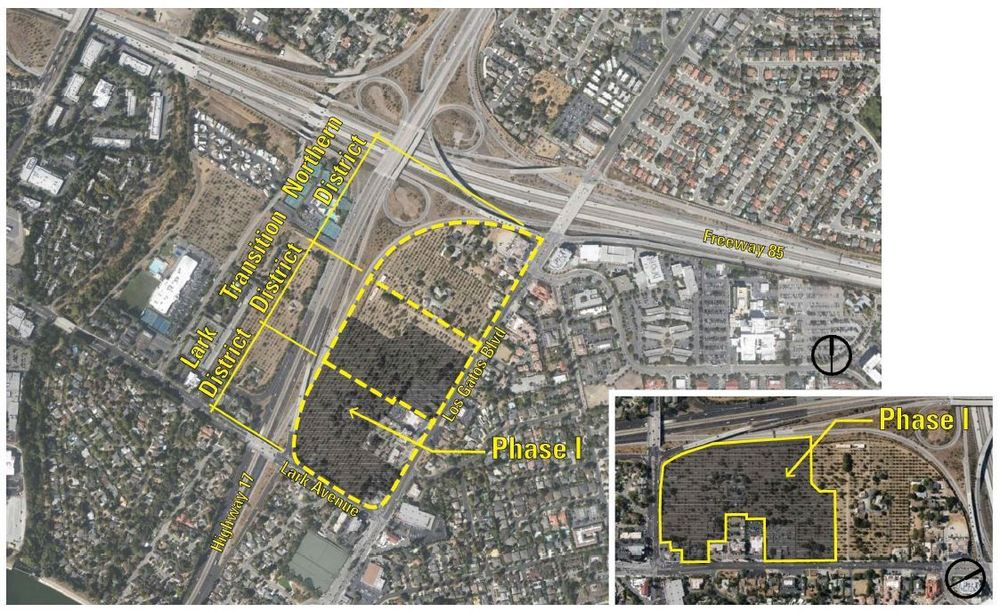 Site of the proposed North 40 project:Grosvenor Americas has contracted with the property owner in the shaded area (source: Los Gatos North 40 General Plan)