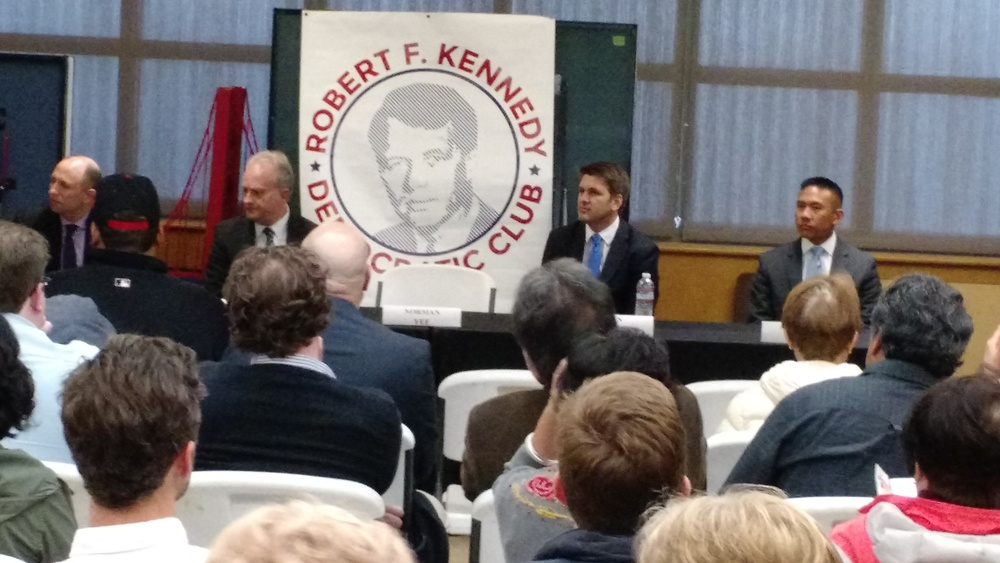 Candidates speak at the RFK Club endorsement meeting