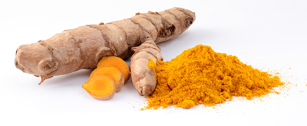 Turmeric in raw and powdered form