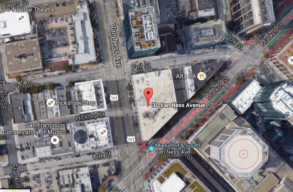 30 Van Ness, aerial view (source: Google Maps)