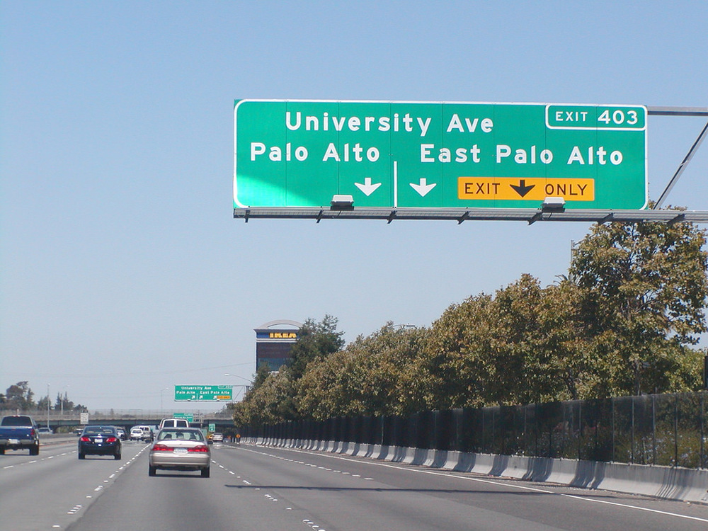 Highway 101, at the Palo Alto / EPA divide