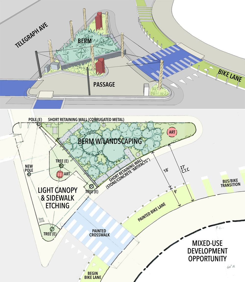 The Dwight & Telegraph triangular intersection optimized for pedestrians (source: Taecker Planning)