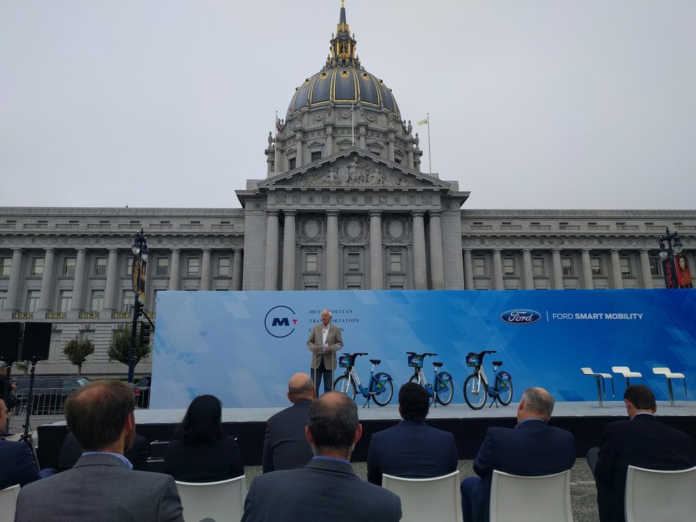 Berkeley Mayor Tom Bates speaks in support of the program in front of San Francisco City Hall (source: Bike East Bay)