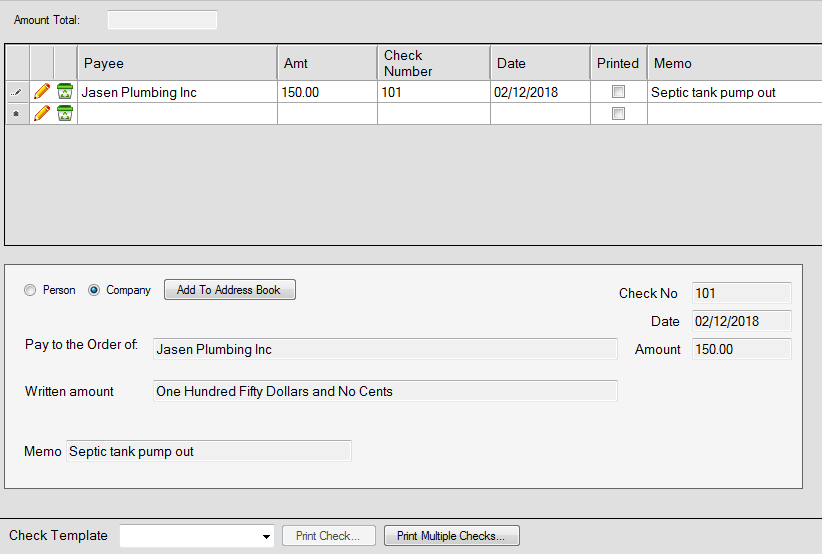 Checks node - The bottom section is the a preview of how a check will be printed.