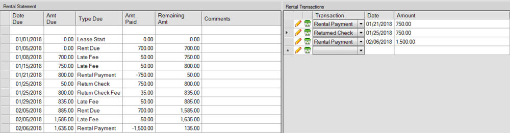 Educating Landlords Property Manager (ELPM) screenshot of the Rental Calculations node. In order to calculate the rent, you need to enter details (rental amount, start and stop date of lease, late fees, returned check fees)on the Lease Node.