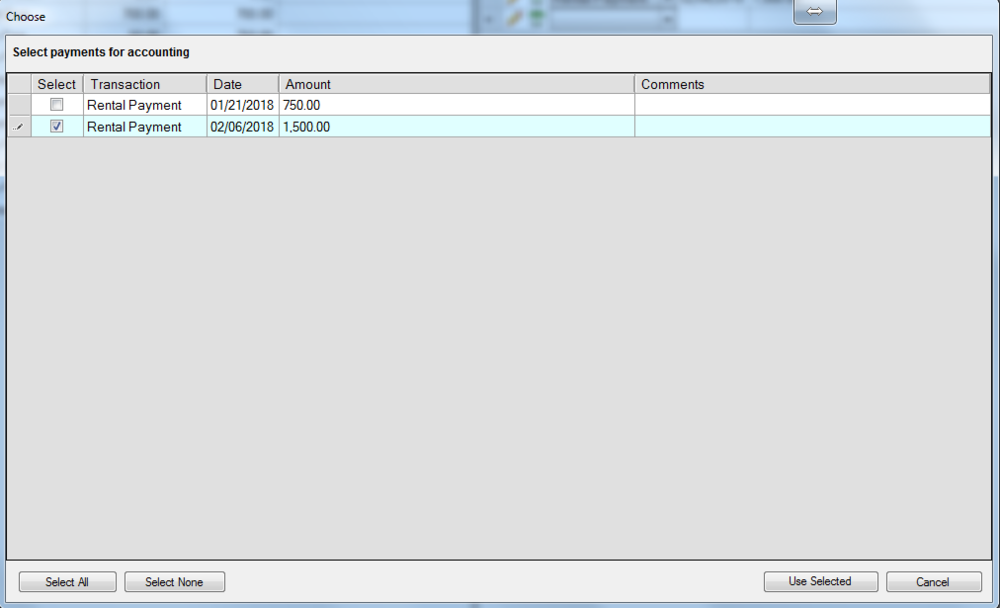 After entering the payment details you will be prompted to add those incomes to the Accounting Node for the Tenancy.