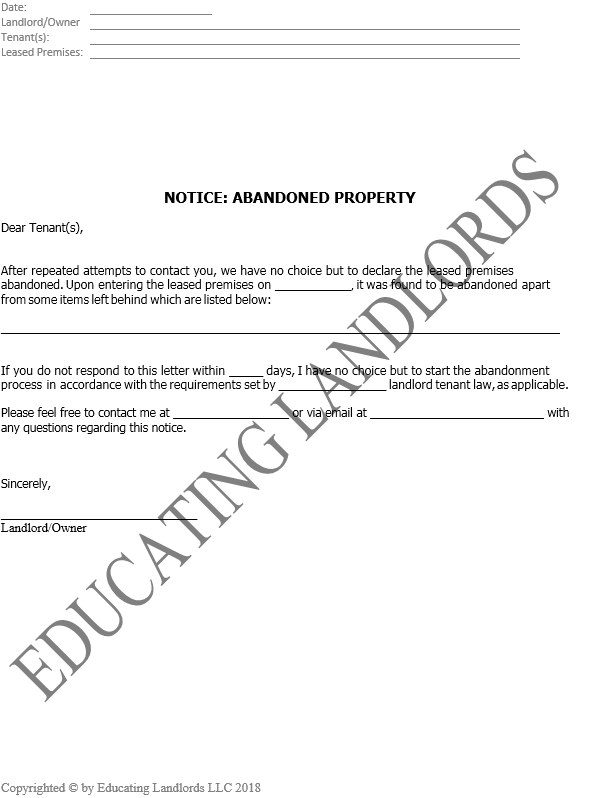 Preview of the Abandoned Property Notice document.
