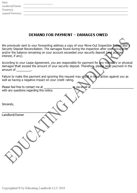 Preview of the Damages Owed Notice document.