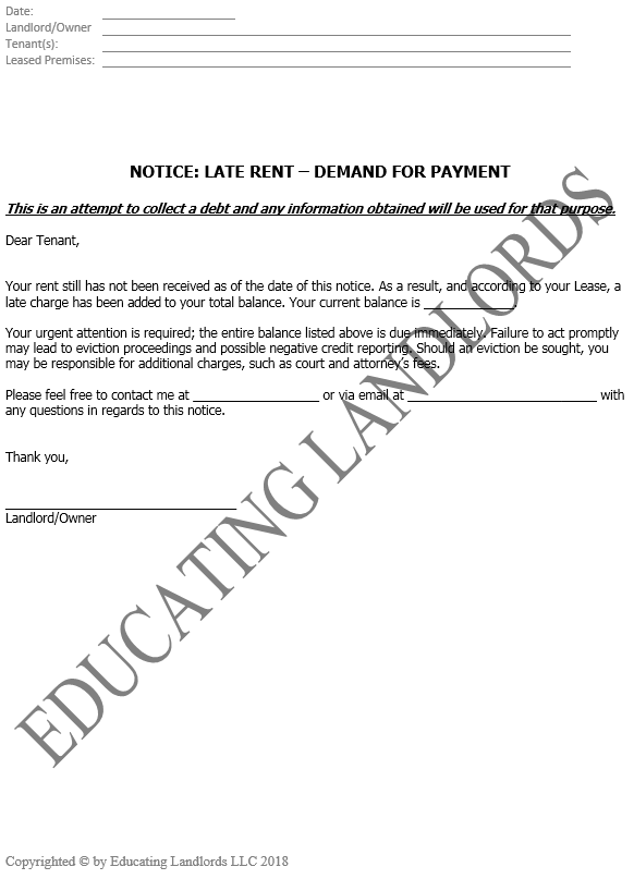 Preview of the Demand for Late Rent Notice document.
