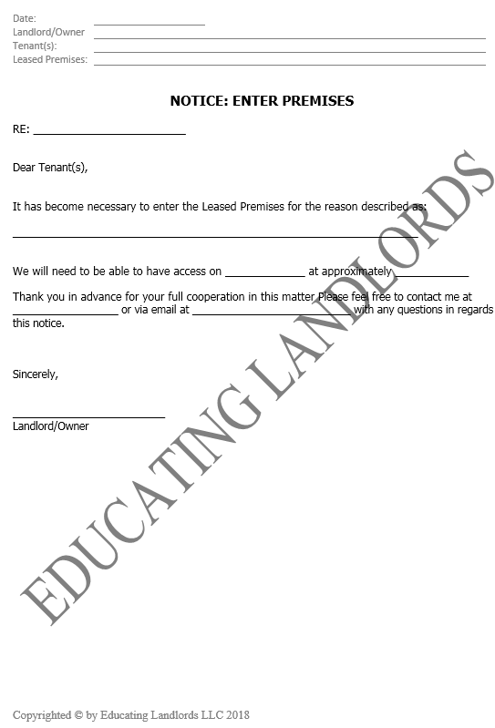 Preview of the Enter Property Notice document.