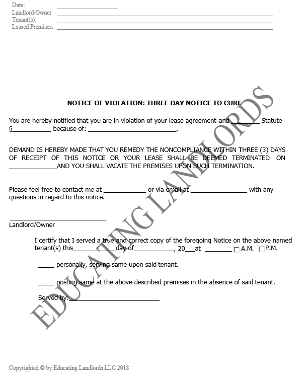 Preview of the Eviction – 3 Day CureNotice document.