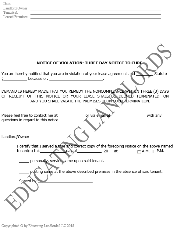 Preview of the Eviction – 3 Day No Cure Notice document.