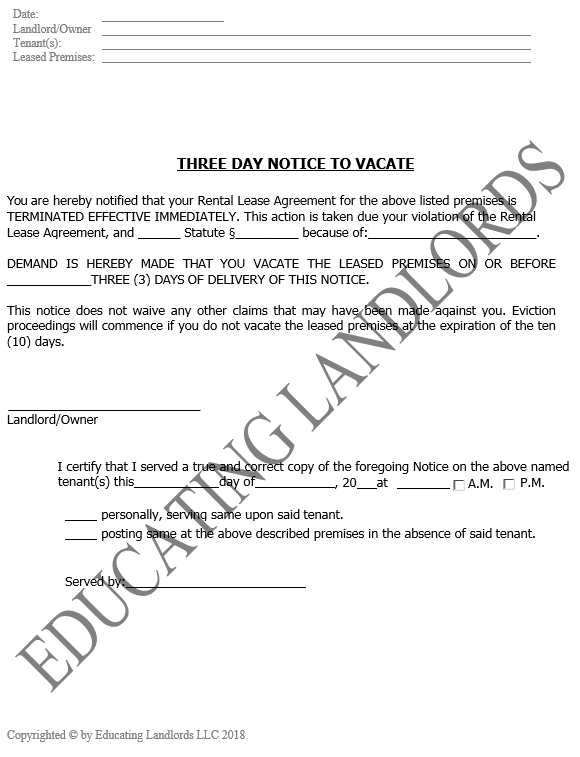 Preview of the Eviction – 3 Day to VacateNotice document.