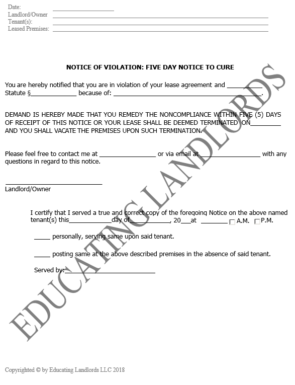 Preview of the Eviction – 5 Day CureNotice document.